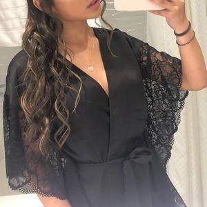 black silk robe with lace trim